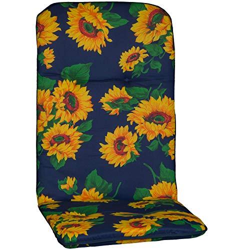 Beo Gartenstuhlauflage Gartenstuhlkissen Sitzkissen Polster für Hochlehner Sonnenblumen blau