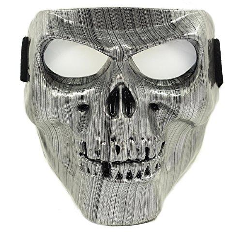 Vhccirt Moto Maschera Protettiva Con Occhiali Polarizzati Occhiali Sci Maschera Di Halloween Skull Mask, Uomo Linea Spazzolata D'argento