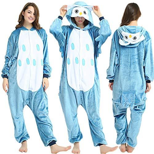 SSM Tier Pyjama Onesies Fasching Halloween Kostüm Schlafanzug Cosplay Pyjama Unisex Erwachsene Damen Karneval Einteiler Eule L