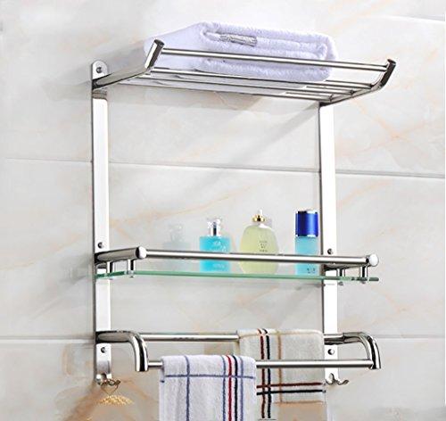 Bathroom Rack YSJ Verre trempé fixé au Mur en Verre rectangulaire d'étagère de Salle de Bains Extra épais, Sable argenté pulvérisé, (Taille : 50 * 19 * 55cm)