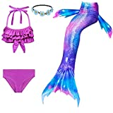 Fishkidtail pcs Traje de Baño de Cuello Hálter con Cola de Sirena Bikini...