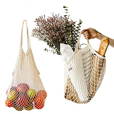 2Pcs Net Shopping Bags Mesh Reusable Shopping Tote for Grocery Shopping&Outdoor Packing, Storage, Fruit, Vegetable (Long Handle + Short Handle)