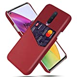 HualuBro OnePlus 8 Case, Premium PU Leather Ultra Slim Nylon Shockproof Back Bumper Phone Case Cover with Card Holder for OnePlus 8 Phone Case (Red)