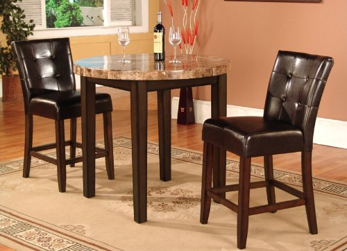 Reviews Roundhill Furniture 3 Piece Faux Marble Top