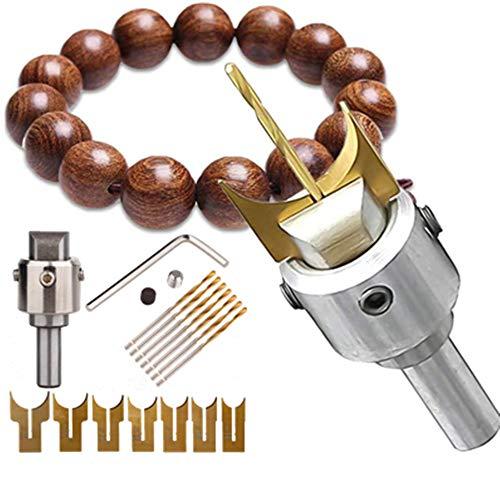 LESTAR 16 Pcs Wooden Bead Maker, Carbide Ball Blade, Woodworking Milling Cutter Molding Tool Hardness Beads Router Bit Drills Bit Set Cemented Carbide Spherical Buddha Beads Woodworking Tool Kit