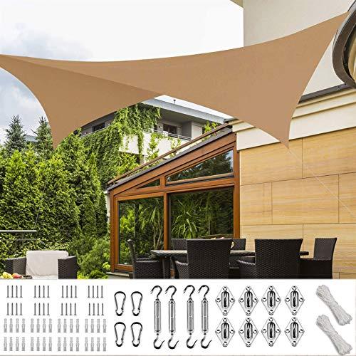 XXJF Vela Solar Toldos Exterior Rectangular UV Solar Protección PES , Resistente Desgarro Y,protección para Jardín Patio Piscinas Exteriores Jardín (Color : Sand, tamaño : 3x5m)