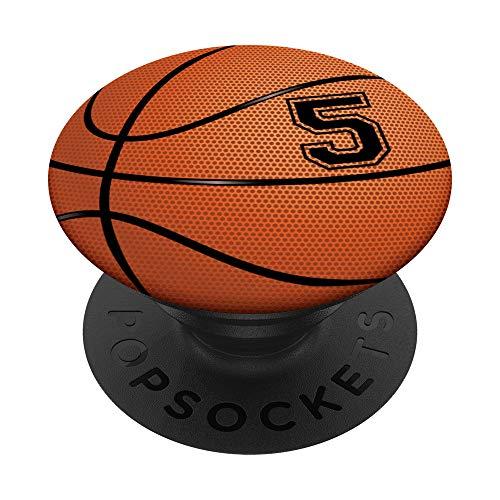 Basketball Jersey Number #5 Five No 5 Game Ball PopSockets PopGrip: Ausziehbarer Sockel und Griff für Handys/Tablets mit Tauschbarem Top