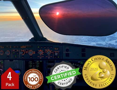 kinder Fluff Pare-Soleil (4X)-Le Seul Pare Soleil Certifié Qui Bloque 99,79% des Rayons UVA et 99,95% des Rayons UVB Protection pour Pare-Brise Niveau Pilote pour...