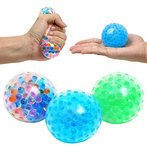 3 Set Water Beads Stress Relief Squeezing Balls for Kids and Adults: Best Calming Tool to Relieve Anxiety, Vent Mood and Improve Focus, Soft Novelty Hand Grip Pressure Ball