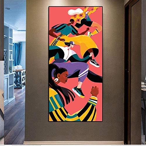GKZJ Leinwanddrucke Bunte rennende Menschen Moderne Figur Leinwandmalerei Poster und Druck Wandkunst Wohnzimmer Wohnkultur 70x140cm ohne Rahmen