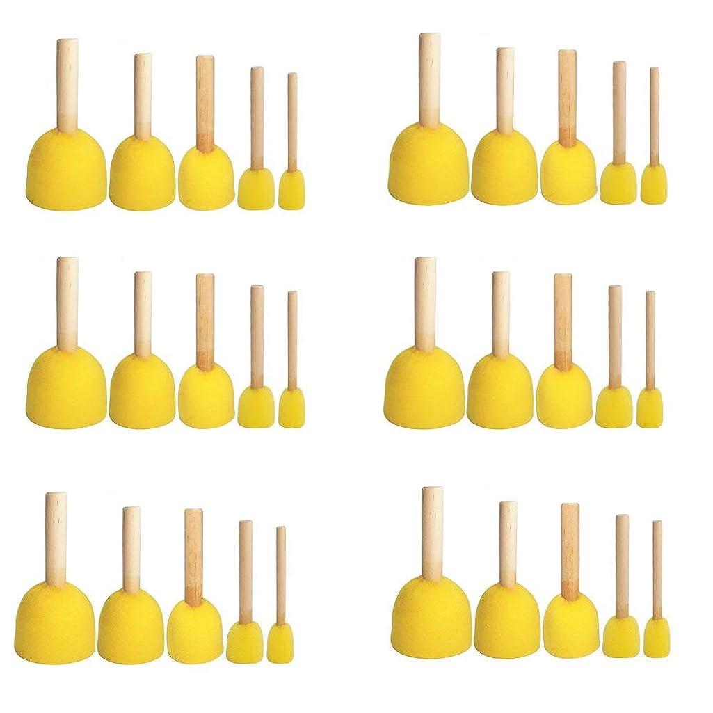 Yoogeer 30pcs Round Paint Foam Sponge Brush Kids Painting Tools Sponge Stippler Set,5 Size,6 Lot