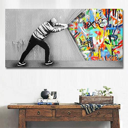 Frameloos Moderne abstracte achter het gordijn Canvas Print schilderij Wall Art Posters en Prints foto voor woonkamer Home Decor <> 40x80cm