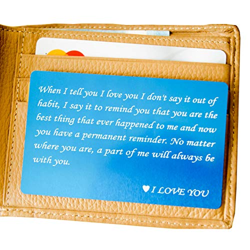 RXBC2011 wallet engraved card for boyfriend husband dad wife son gifts card Handmade Fathers Day Deployment funny gifts(Blue)