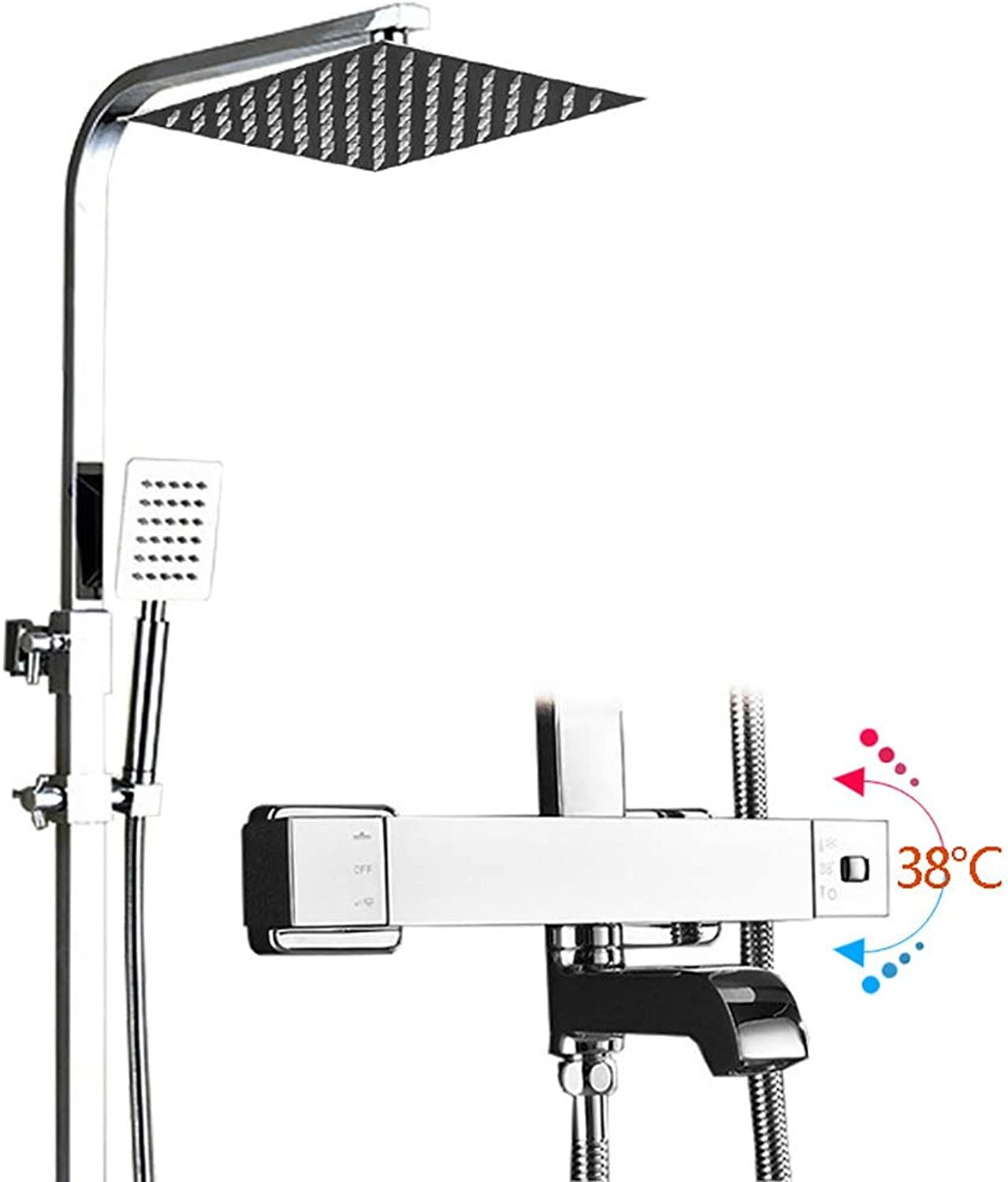 YYF-SHOWER Shower Systems Retro Intelligent Thermostatic Shower Set, All Bronze Wall-mounted Hand Shower Bathroom Cold hot Water Tap (color   Silver)