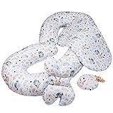 Cojín de Embarazo para Dormir en Forma de C, tamaño XXL, para Dormir de Lado, cómodo cojín para Embarazadas, bebés, Juego de 4 Diseño de Búho