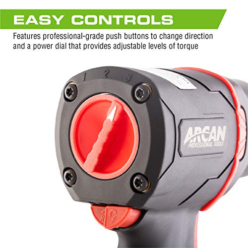 """Arcan 1/2"""" Lightweight Pneumatic Push Button Air Impact Wrench, 1300 ft/lbs of High Torque, Twin Hammer, Composite, with Variable Speed Trigger (A41311)"""