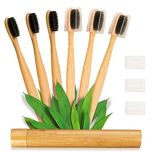 Ventvinal Cepillo de dientes de bambú (familia 6 piezas) Cepillo de dientes de bambú 100% natural Cepillo de dientes de carbón de bambú original Cepillo de dientes suave