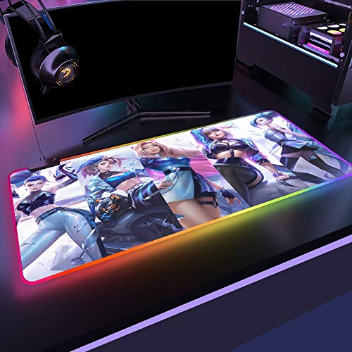 K/da Big Breast Girl RGB Gaming Mouse pad League of Legends Computer led Gamer Big mause pad for DIY Computer Table Stand