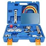Medidor digital de manómetro de refrigeración, 1 caja de herramientas de refrigeración Kit de herramientas de refrigeración de expansión de 1/4'- 3/4' con tubo y cortador