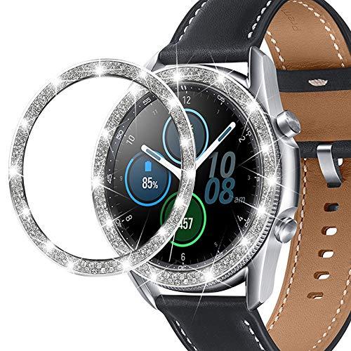 Miimall - Anillo para Samsung Galaxy Watch 3 41 mm, acero inoxidable con cristales de lujo antiarañazos, anillo de reloj para Samsung Galaxy Watch3 41 mm, color plateado
