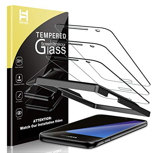 HATOSHI 3 Pack Screen Protector Compatible for Samsung Galaxy S7 Tempered Glass, Alignment Tray Easy Installation, Bubble Free, HD Clear Glass Screen Cover