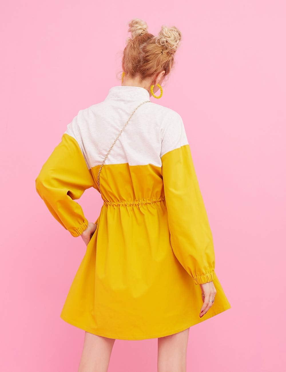 ELFSACK dames Zipper Drawstring Colorblock lang trenchcoat jurken vakantiejurken geel