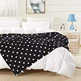 COCOPLAY W Black Throw Blanket, White Polka Dots Flannel Fleece 50×60 Inches, All Season Super Luxury Lightweight Warm Soft Cozy Blanket for Bed, Couch, Car