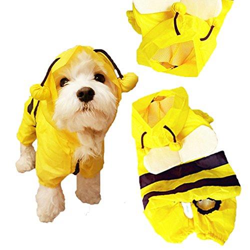 HaveGet 犬レインコート 小型犬 雨散歩 つなぎタイプ リード穴付き 帽子付き 犬用合羽 防水犬服 か...