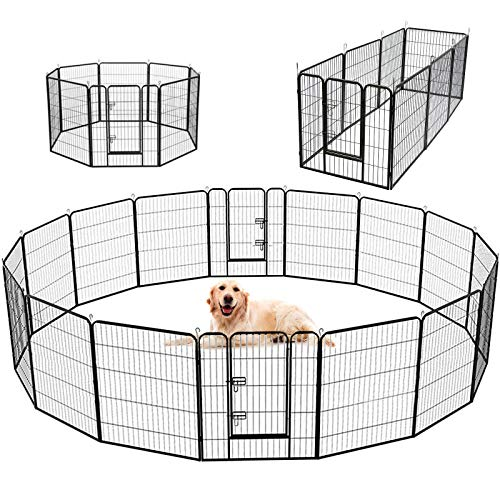 SUNCOO Dog Pen, 8/16 Panels 24/32/40 in Heavy Duty Folding Large Metal Dog Fence, Cat Puppy Pet Exercise Playpen, Indoor Outdoor Anti-Rust Pet Crate Cage Barrier Kennels (16 Panels Black, 32 in)