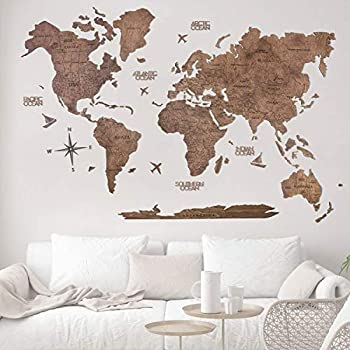 Wood World Map Wall Art Large Wall Decor - World Travel Map ALL Sizes  M L XL  Any Occasion Gift Idea - Wall Art For Home & Kitchen or Office