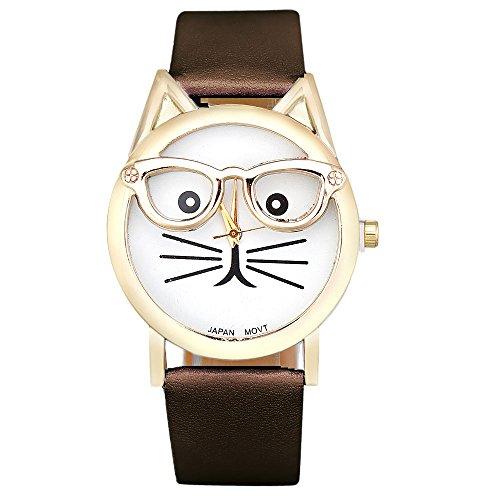Sannysis® Carino Occhiali Cat analogico al quarzo Quadrante orologio da polso (Marrone)