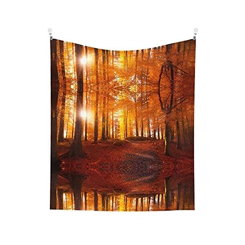 Tapiz para colgar en la pared, otoño, luz del sol, bosque, impreso en la pared, arte de pared para sala de estar, dormitorio, decoración del hogar, 152 x 130 cm