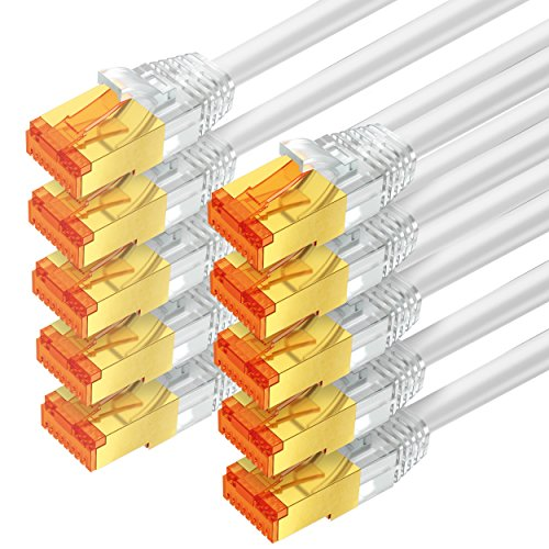 mumbi LAN Kabel 0,5m CAT 6 Netzwerkkabel geschirmtes F/UTP CAT6 Ethernet Kabel Patchkabel RJ45 0,5Meter, Weiss (10er Set)