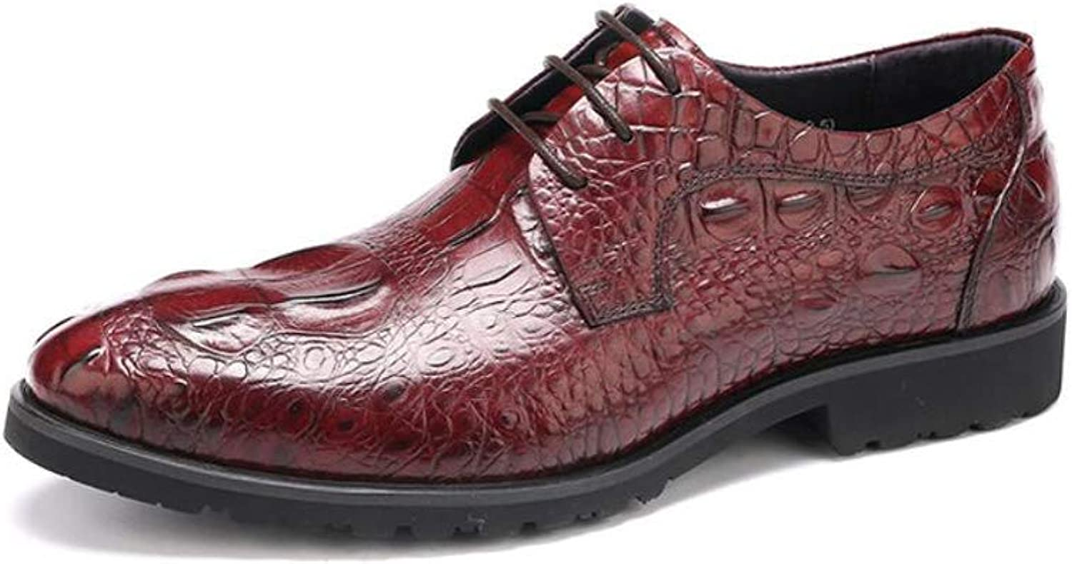 MKJYDM Business Casual shoes Crocodile Lace Men's shoes Comfortable Work shoes Wear shoes Men's Leather shoes (color   Red, Size   43 EU)