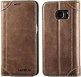 LENSUN Funda Galaxy S7, Funda de Cuero Genuino Ranura para Tarjetas Cierre Magnetico Piel Protección con Tapa para Samsung Galaxy S7 5,1' - Café (S7-DX-CE)