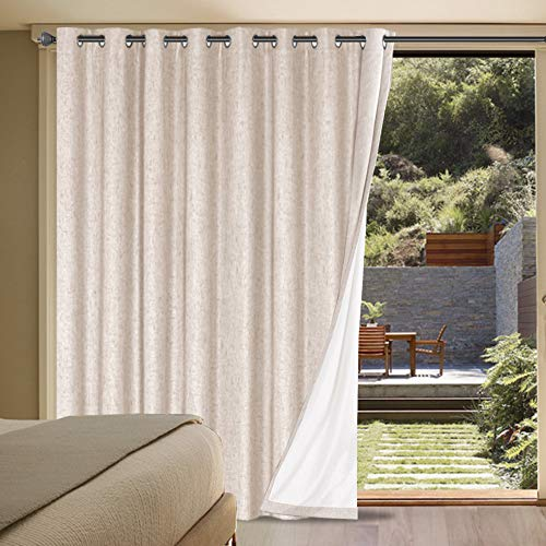 H.VERSAILTEX Linen Blackout Curtains Durable Thick Textured Linen Look 100% Blackout Patio Door Curtain Anti Rust Grommet Extra Wide Sliding Door Curtain Panel, W100 x L84 inch - Natural