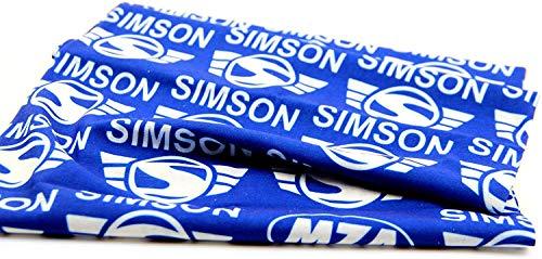 Schlauchtuch, Multifunktionstuch, Halstuch im Polybeutel - Motiv: SIMSON-Markenlogo - Aufdruck weiß, Hintergrund blau