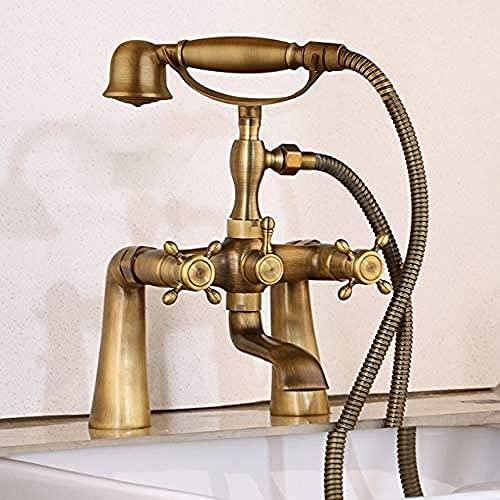 FacuetAntique Grifo de ducha de latón para bañera con ducha de mano Baño Mezclador de bañera Grifo para teléfonoJuego de ducha mezcladorcaliente yfrío [Envío gratuito] {Bañera B}