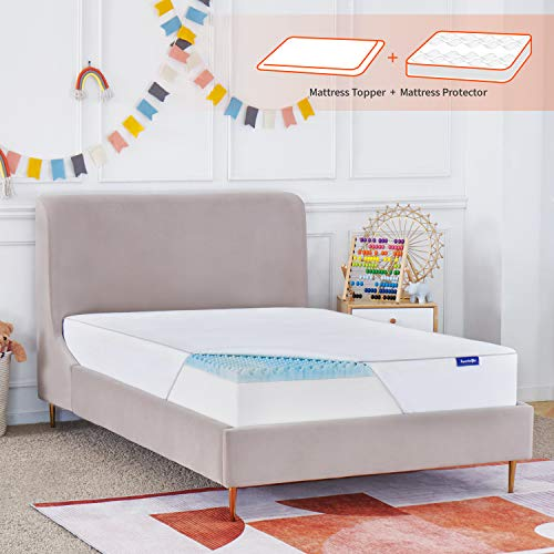 Sweetnight Mattress Topper Full Size with Waterproof Mattress Protector, 2 Inch Cooling Egg Crate Gel Memory Foam Topper Ultra Plush, Plus 4 Bed Sheet Holder Straps, Full Size