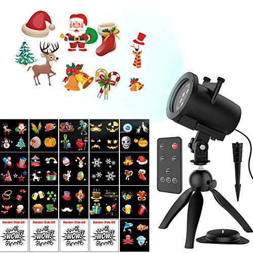 Halloween Christmas Projector Lights, Upgraded 16+4 Slides Waterproof IP65 Outdoor Landscape 6W Motion LED Projection Lights, 16ft Power Cable for Decoration Lighting on Holiday Birthday Wedding Party