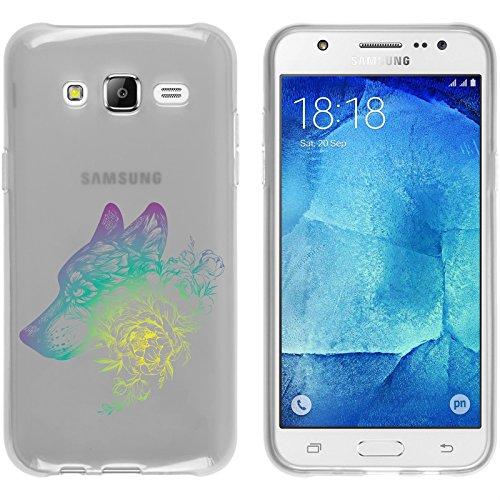 Preisvergleich Produktbild PhoneNatic Case kompatibel mit Samsung Galaxy J5 (2015 - J500) Silikon-Hülle Floral Wolf M3-4