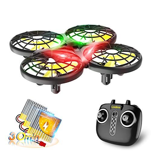 Loolinn | Drohne für Kinder - Mini Drohne, RC Quadrocopter mit Antikollisionstechnologie / 360° Flips / Handgesteuerter Modus / 30 Minuten Flugzeit ( DREI Batterien Geliefert )