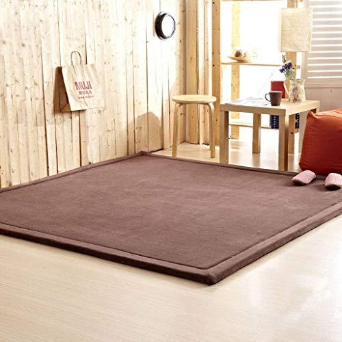 HUANXA Japanischer Tatami Teppich, Flanell Babyspieldecke Dick Anti-Rutsch Matte Für Wohnzimmer Kindergarten -深咖啡-120x200cm(47x79inch)