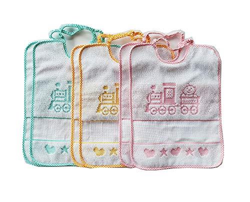 Bavaglie trenino con elastico 6 pezzi 100% cotone colori da bambina inserto in tela aida ideali per asilo nido e scuola materna produzione italiana