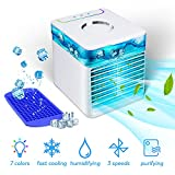 TESECU Mini Personal USB Air Cooler 3-in-1 Table Fan Portable Evaporative Cooler for Home Office, 3 Speeds, 7-Color Light, Quiet, with Ice Tray (White)