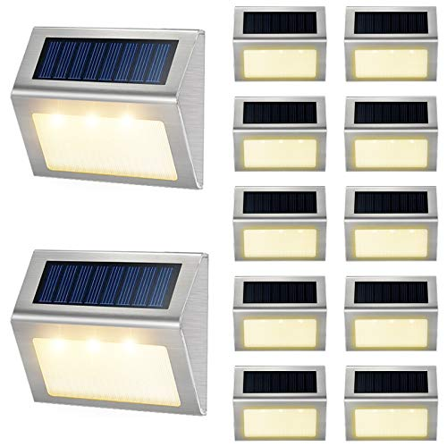 Solar Deck Lights Outdoor JSOT [Warm Light] Bright Fence Light with Light Sensor Waterproof Stainless Steel Step Stairs LED Lamp Lighting Patio Garden Pathway Walkway Security Lamps 12 Pack