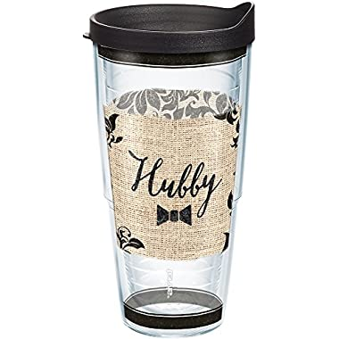 Tervis 1210913 Hubby Tumbler with Wrap and Black Lid 24oz, Clear