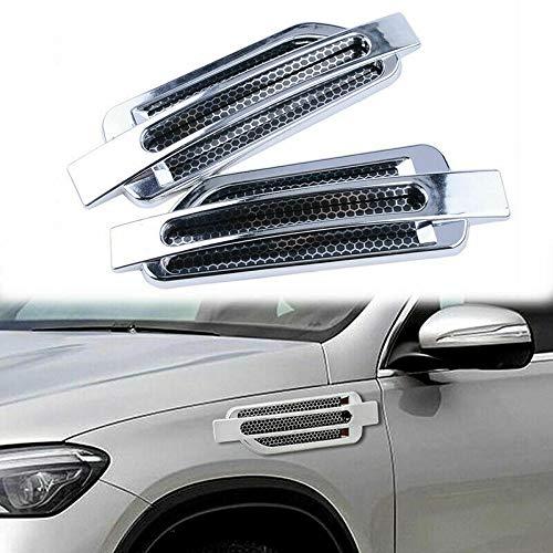 MACHSWON Car Side Airflow Grille, 2X Chrome Car Auto Bonnet Air Intake Flow Side Fender Vent Hood Scoop Cover (Silver + Black)