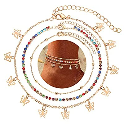 CEALXHENY Butterfly Anklets for Women Boho Beaded Chain Anklets Rainbow Crystal Ankle Bracelet Layered Insect Butterfly Charms Anklets Set Fashion Foot Jewelry Gifts (Gold)