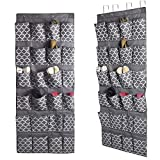Over The Door Shoe Organizer, Hanging Shoe Holder with 24 Extra...
